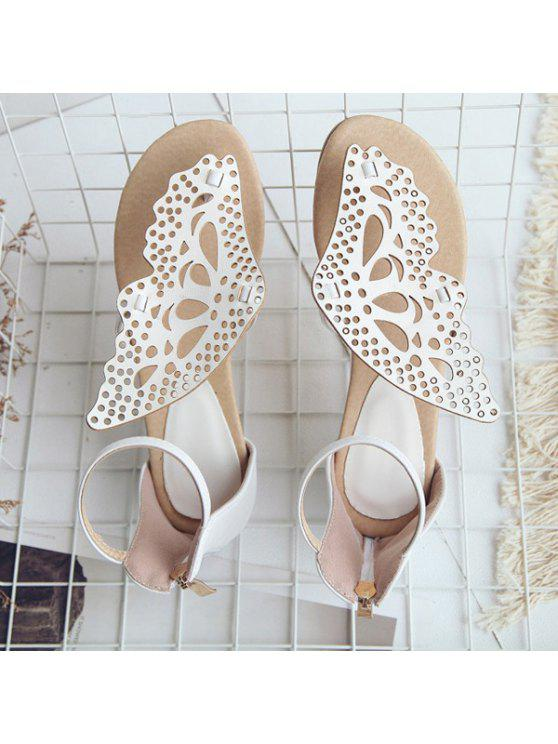 outfits Butterfly Embellishment Faux Leather Sandals - WHITE 37