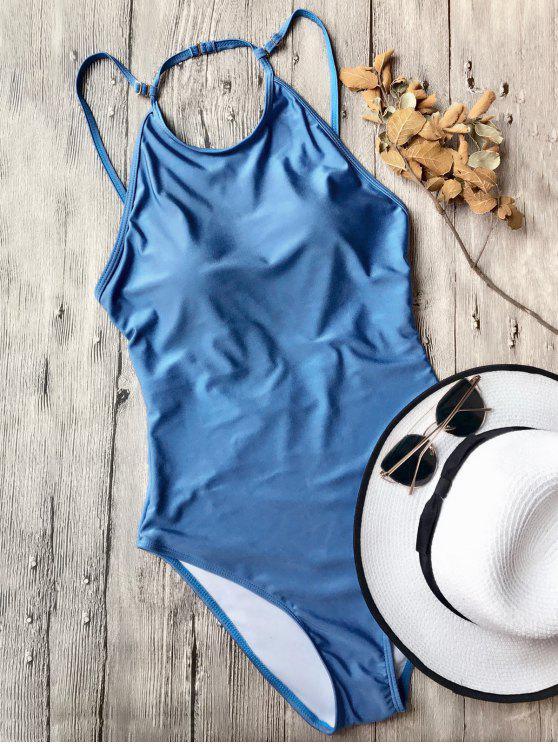 unique Open Back High Neck One Piece Swimsuit - BLUE M