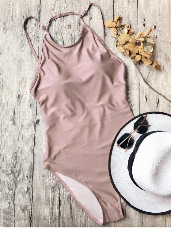 trendy Open Back High Neck One Piece Swimsuit - PINK L