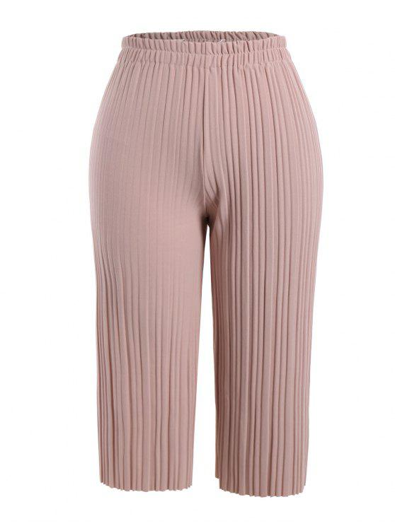 efe3c34aad0d8 2019 Wide Leg Plus Size Ninth Pleated Pants In PINK 3XL
