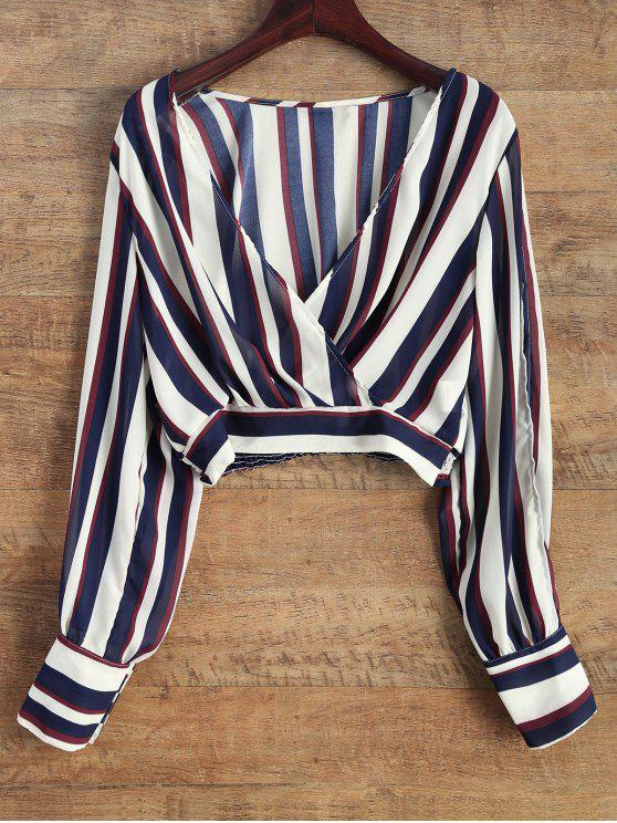 outfits Striped Slit Sleeve Cropped Surplice Blouse - BLUE AND WHITE M