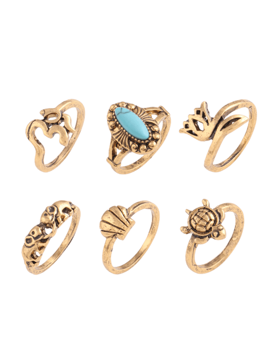 shops Faux Turquoise Tortoise Elephant Alloy Ring Set - GOLDEN