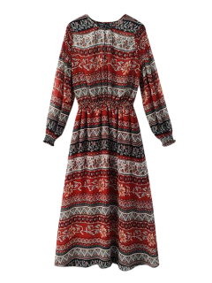 Ethnic Tribal Print Maxi Dress - Red S