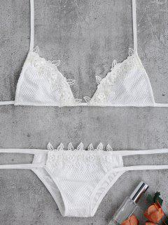 Lace Halter Crochet Bikini Set - White
