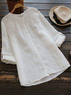 Chemise En Coton Surdimensionné Brodé - Blanc