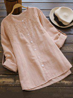 Camisa De Cuello De Gran Tamaño Bordada - Rosa