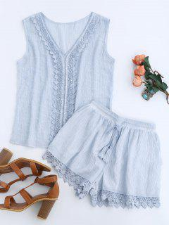 Lace Insert Tank Top And Drawstring Shorts - Light Blue S