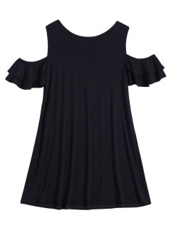 Cold Shoulder Ruffle T-Shirt Dress - Black M