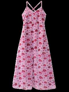 Robe De Plage Florale à Fente - Violacé Rouge L