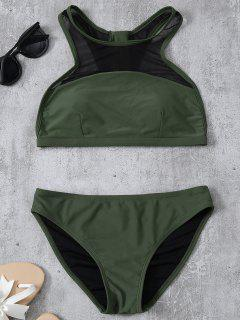 Back Zipper Mesh Panel Bikini Set - Army Green M
