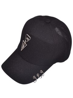 Metal Circles Double Triangle Baseball Hat - Black