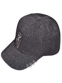 Metal Circles Double Triangle Baseball Hat - Feather Gray