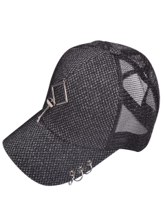 Metal Hollow Out Rhombic Circles Baseball Cap - Feather Gray