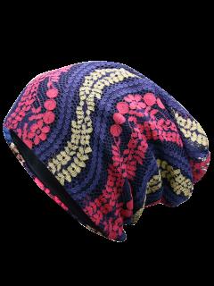 Layered Lace Flower Pattern Beanie - Cerulean