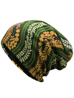 Layered Lace Flower Pattern Beanie - Army Green