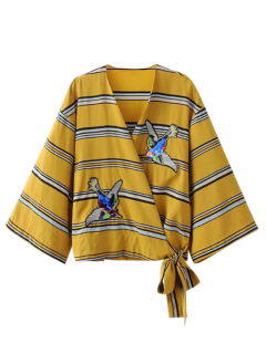 Patched Stripes Wrap Blouse - Yellow M