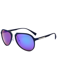 Ombre Anti UV Metal Crossbar Reflective Driving Sunglasses - Blue Frame+purple Lens