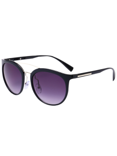 Ombre Anti UV Metal Cambered Crossbar Sunglasses - Black Frame+grey Lens