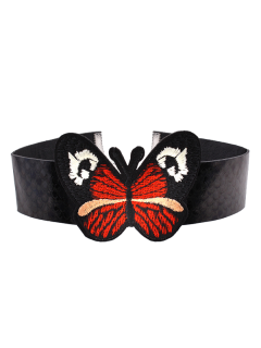 Snake Printed Embroidery Butterfly Choker Necklace - Black