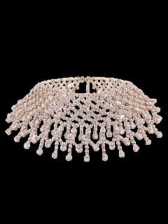 Alloy Rhinestoned Fringed Necklace - Golden