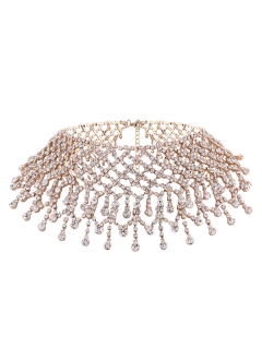 Aleación Rhinestoned Collar Con Flecos - Dorado