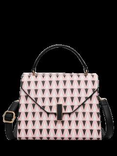 Faux Leather Geometric Print Handbag - Pink