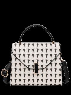 Faux Leather Geometric Print Handbag - Off-white