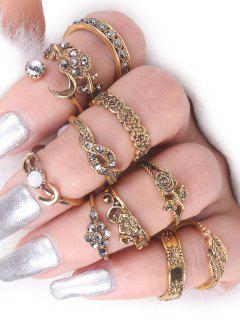 Rose Flower Leaf Moon Alloy Ring Set - Golden