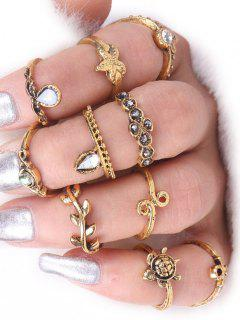 Tortoise Starfish Leaf Teardrop Alloy Ring Set - Golden