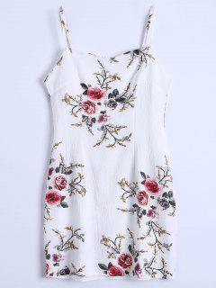Slip Floral Slinky Summer Dress - White M