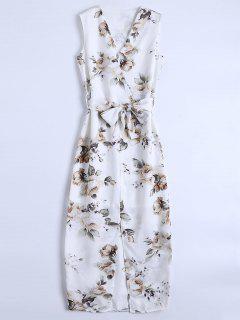 Slit Sleeveless V Neck Floral Maxi Dress - White L