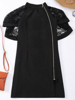 Zip Up Lace Cape Bodycon Dress - Black Xl