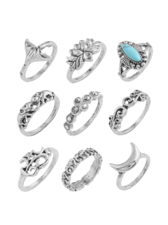 Artificial Turquoise Moon Elephant Alloy Ring Set - Silver
