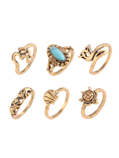 Faux Turquoise Tortoise Elephant Alloy Ring Set - Golden