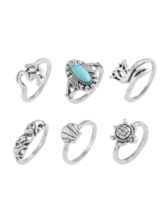 Faux Turquoise Tortoise Elephant Alloy Ring Set - Silver