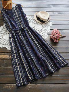 Vestido De Lino Sin Mangas De Flores Con Cordón En Cintura - Azul Claro