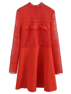 Lace Panel Cut Out A-line Dress - Red S