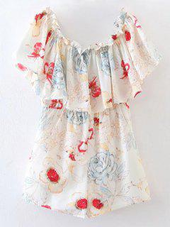 Flounced Floral Off The Shoulder Romper - Floral M