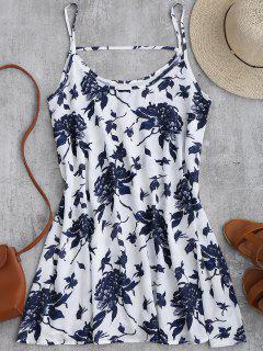 Vestido Fluido De Gasa Con Estampado De Flores Con Tirantes Finos - Blanco M
