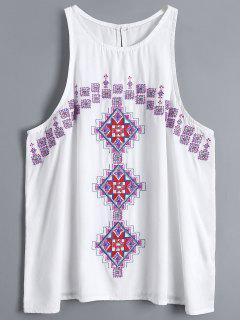 Geometry Embroidered Armhole Tank Top - White S