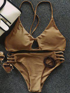 Solid Color Elastic Cami Bikini Set - Coffee M
