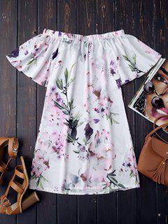 Robe Vintage Imprimée Fleur épaules Dénudées  - Blanc Xl