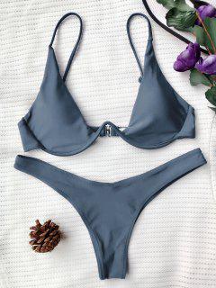 Push Up Plunge Bathing Suit - Gray L