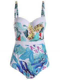 Palm Leaf Print Padded Plus Size Swimsuit - White 3xl