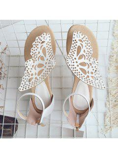 Butterfly Embellishment Faux Leather Sandals - White 37