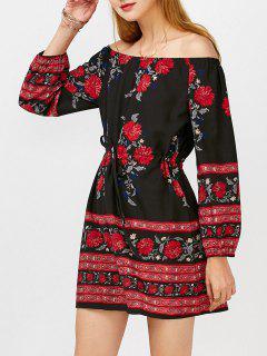 Off Shoulder Floral Long Sleeve Mini Dress - Black L