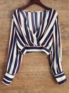 Striped Slit Sleeve Cropped Surplice Blouse - Blue And White 2xl