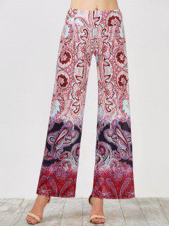 Pantalon à Taille Haute Ceinture Élastique à Jambe Large - Rouge L