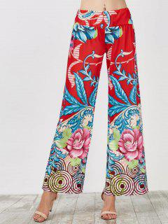 Elastic Waist Wide Leg High Waisted Pants - Blue And Red Xl