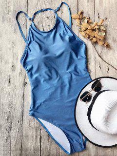 Open Back High Neck One Piece Swimsuit - Blue M